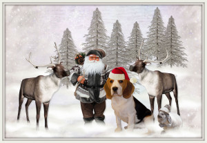 Santa and His Reindeers