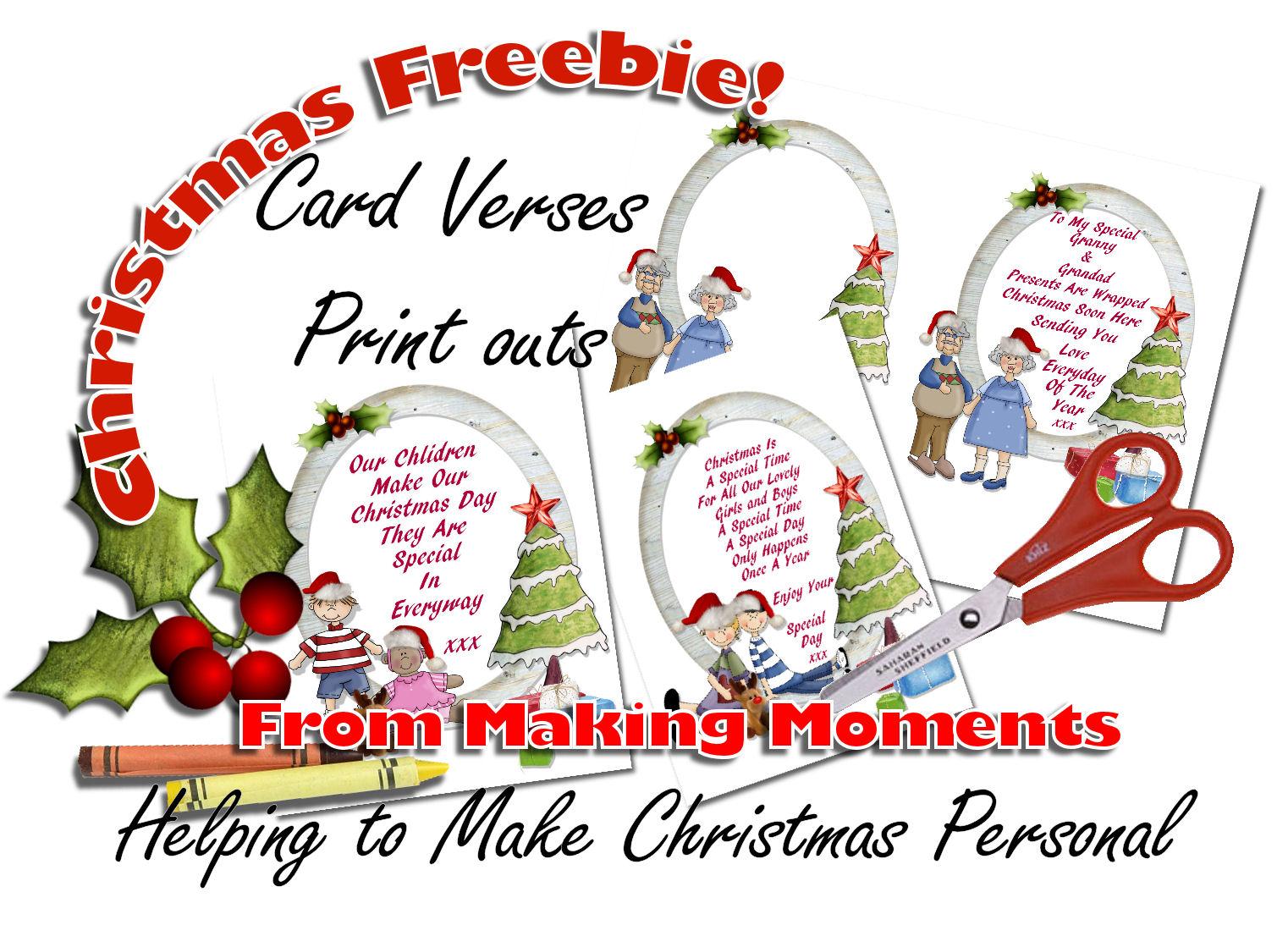 Making Moments Christmas Card Verses Freebies Print