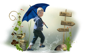 boy in rain, childhood quote and fun
