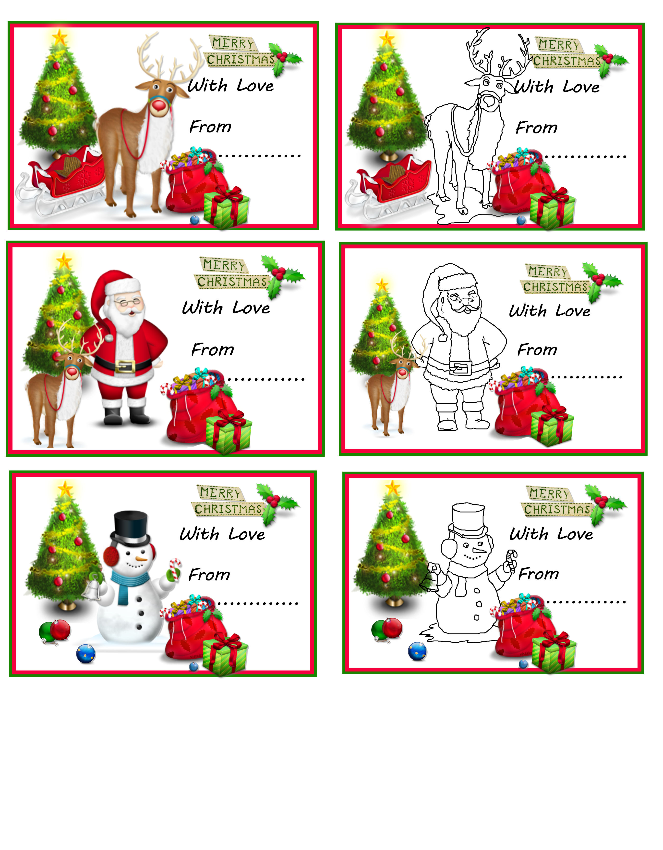 These lovely gift tags have cute reindeer, santa ad snowman designs ...