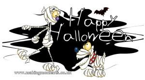 happy halloween fun skeleton dog message